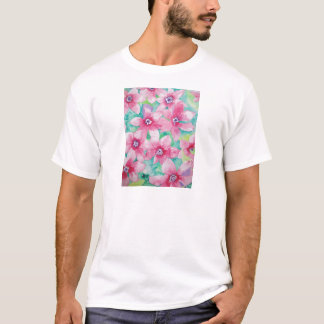 Pink Clematis Watercolor Painting T-Shirt