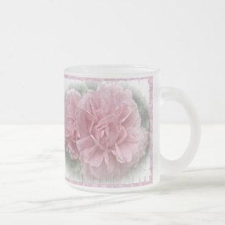 Pink Climbing Rose Blossoms Frosted Glass Coffee Mug