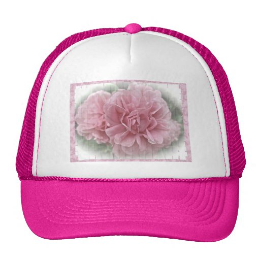 Pink Climbing Rose Blossoms Mesh Hat