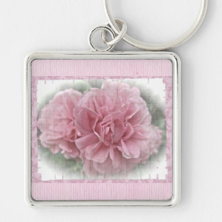 Pink Climbing Rose Blossoms Keychain
