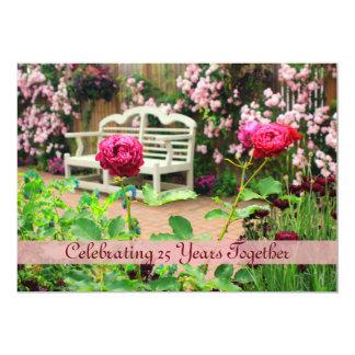 Pink Climbing Roses English Garden Anniversary 5x7 Paper Invitation Card