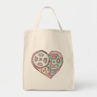 Pink Clockwork Heart Grocery Tote