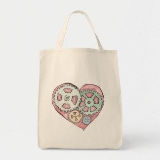 Pink Clockwork Heart Grocery Tote