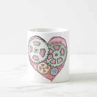 Pink Clockwork Heart White 11 oz Classic White Mug