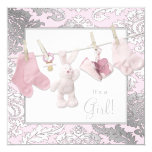 Pink Clothesline Baby Girl Shower Personalized Announcements