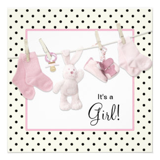 Pink Clothesline Baby Girl Shower Custom Invitations