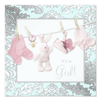 Pink Clothesline Baby Girl Shower Invitations