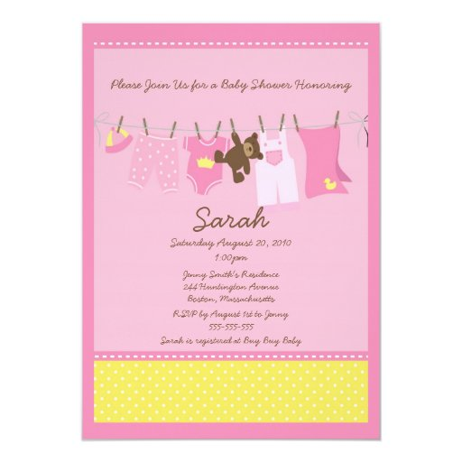 "Pink Clothesline Baby Shower Invitation 5"" X 7"" Invitation Card"