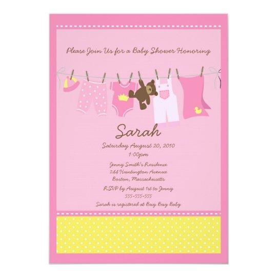 Pink Clothesline Baby Shower Invitation