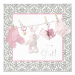 "Pink Clothesline Baby Shower 5.25"" Square Invitation Card"