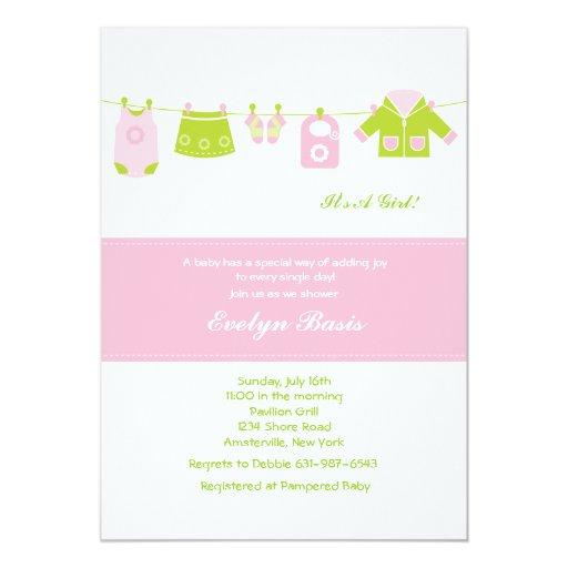 pink clothesline baby shower invitation zazzle