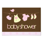 Pink Clothesline Baby Shower Personalized Invite
