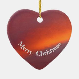 Pink cloud Christmas heart ornament