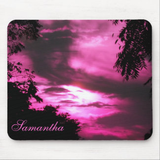 Pink Clouded Sky Mouse Pad