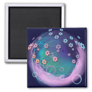 Pink Clouds 2 Inch Square Magnet