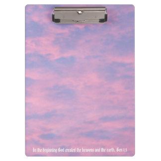 Pink Clouds Bible Verse Photo Clipboard