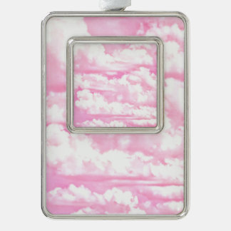 Pink Clouds Fashion Background Silver Plated Framed Ornament