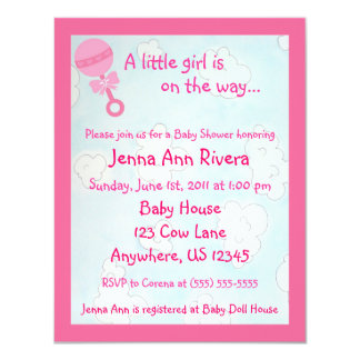 Pink Clouds in the Sky Baby Shower Invite