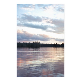 Pink Clouds Over Forked Lake Custom Stationery