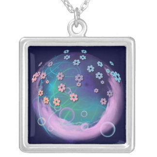 Pink Clouds Square Pendant Necklace