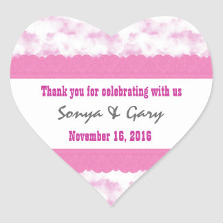 Pink Clouds Thank You Double Lace Wedding V2G Heart Sticker