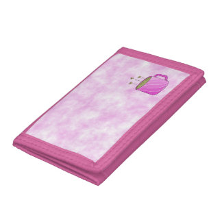 Pink Clouds with Pink Coffee Cup Trifold Wallet
