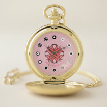 Pink Clover Ribbon (Bf) by K Yoncich Pocket Watch