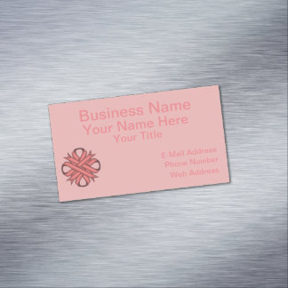 Pink Clover Ribbon Business Card Magnet