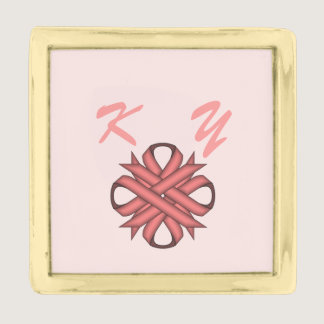 Pink Clover Ribbon by Kenneth Yoncich Gold Finish Lapel Pin
