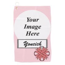 Pink Clover Ribbon by Kenneth Yoncich Golf Towel