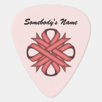 Pink Clover Ribbon by Kenneth Yoncich Guitar Pick