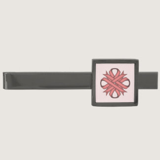 Pink Clover Ribbon by Kenneth Yoncich Gunmetal Finish Tie Clip