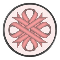 Pink Clover Ribbon by Kenneth Yoncich Hockey Puck