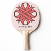 Pink Clover Ribbon by Kenneth Yoncich Ping-Pong Paddle