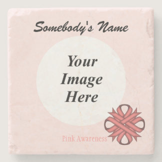 Pink Clover Ribbon by Kenneth Yoncich Stone Coaster