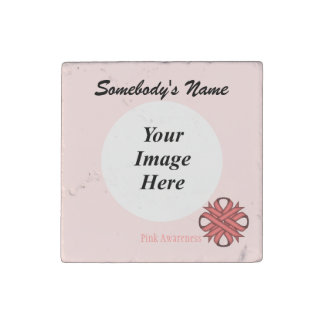 Pink Clover Ribbon by Kenneth Yoncich Stone Magnet