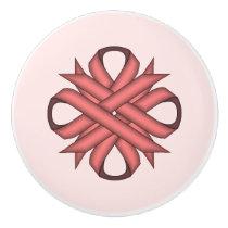 Pink Clover Ribbon Ceramic Knob