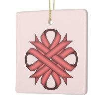 Pink Clover Ribbon Ceramic Ornament