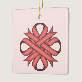 Pink Clover Ribbon Ceramic Ornament