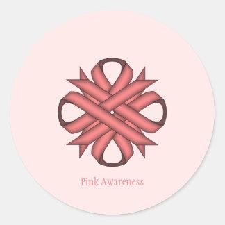 Pink Clover Ribbon Classic Round Sticker