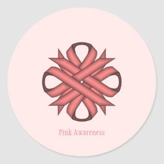 Pink Clover Ribbon Classic Round Sticker