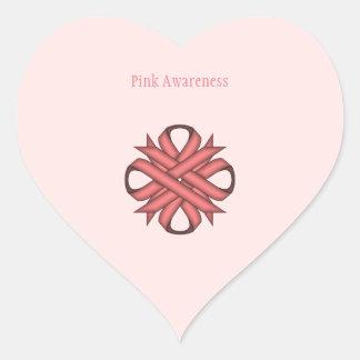 Pink Clover Ribbon Heart Sticker