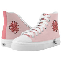 Pink Clover Ribbon High-Top Sneakers