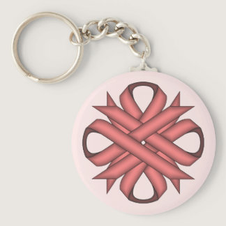 Pink Clover Ribbon Keychain