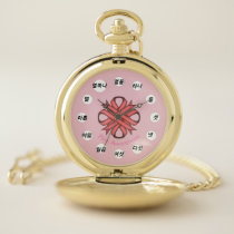 Pink Clover Ribbon (Kf) by K Yoncich Pocket Watch