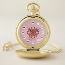 Pink Clover Ribbon (Mf) by K Yoncich Pocket Watch