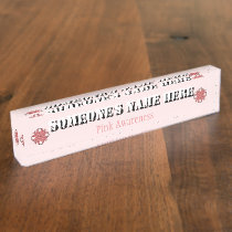 Pink Clover Ribbon Name Plate