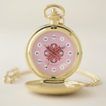 Pink Clover Ribbon (Rf) by K Yoncich Pocket Watch