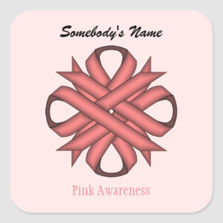 Pink Clover Ribbon Square Sticker