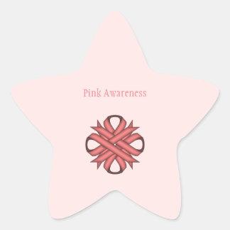 Pink Clover Ribbon Star Sticker